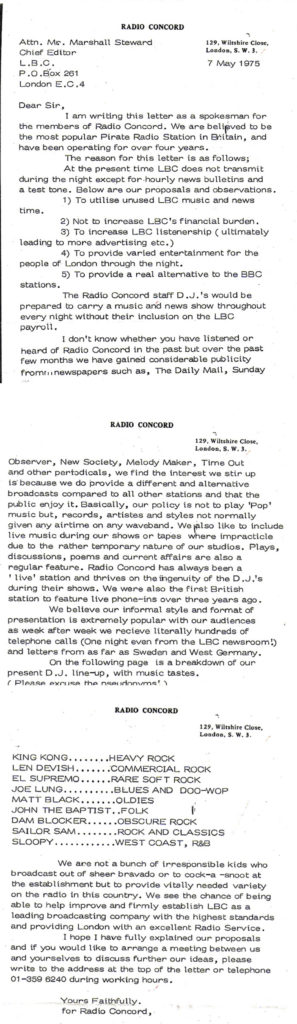 Letter from Radio Concord staff to London Broadcasting Editor-in-Chief - May 7, 1975