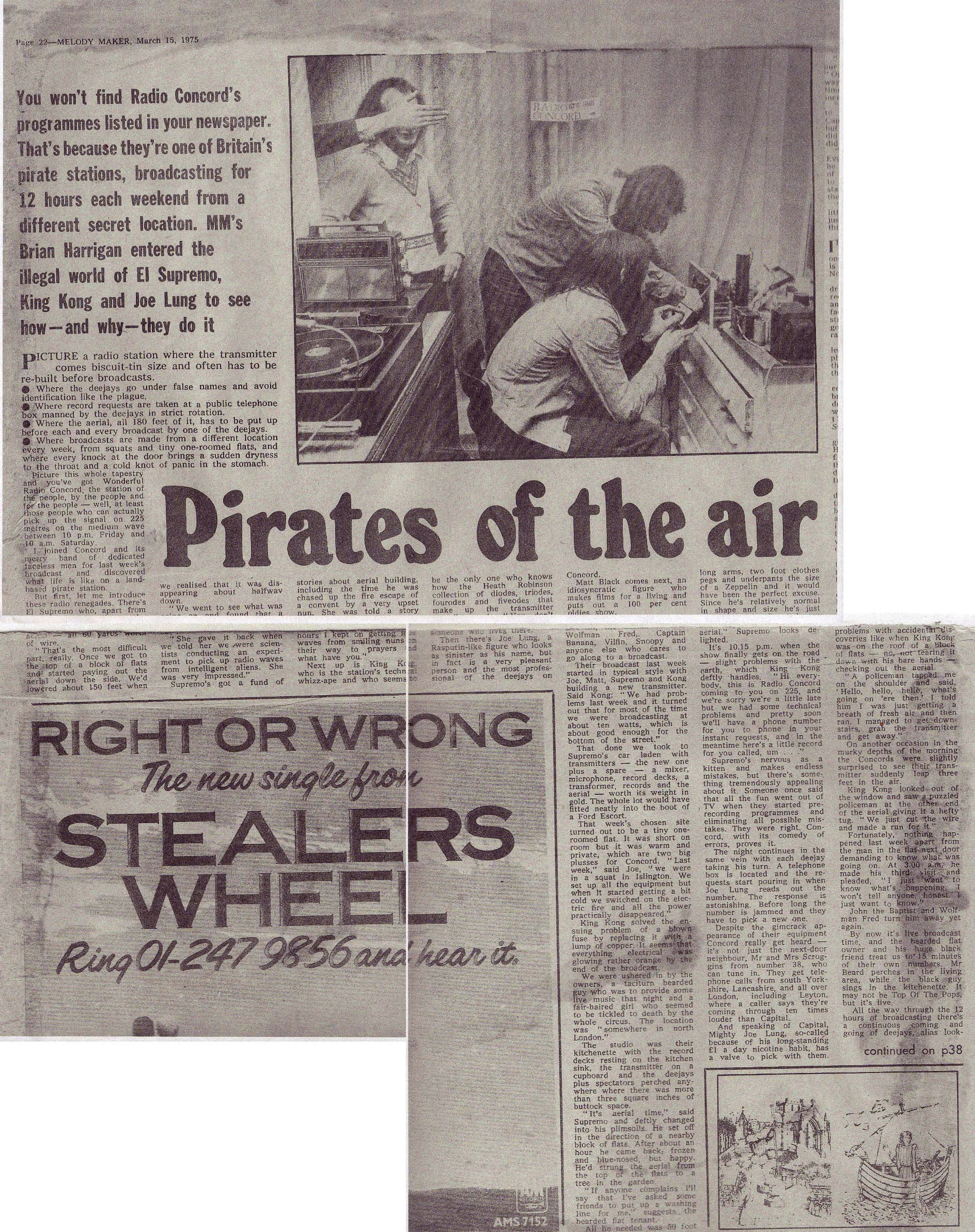 Pirate Radio Tommys Holiday Camp Vintage Melody Maker Wiring Diagram Article March 15 1975 P 18 22